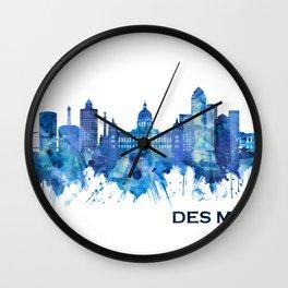 Des Moines Iowa Skyline Blue Wall Clock