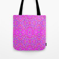 candy Tote Bags featuring Candy Colored Pixels by 2sweet4words Designs