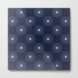 Blue and White Square Pattern Metal Print