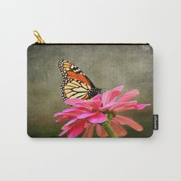 Monarch Butterfly and Pink Zinnia Carry-All Pouch