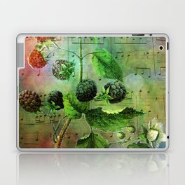 Blackberry Music, Vintage Botanical Illustration Collage Art Laptop & iPad Skin