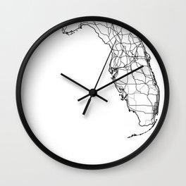 Florida White Map Wall Clock