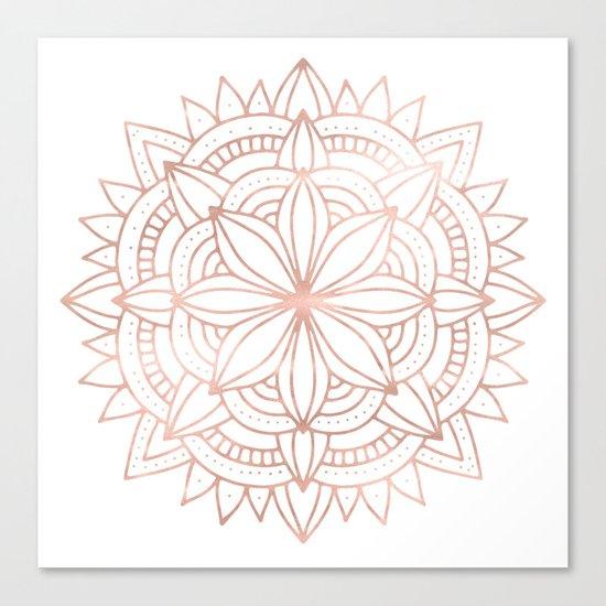Mandala Rose Gold Pink Shine Canvas Print
