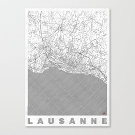 Lausanne Map Line Canvas Print