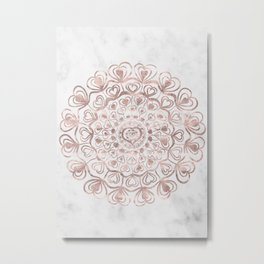 Heart Mandala on Marble #1 #decor #art #society6 Metal Print