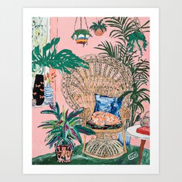 Ginger Cat in Peacock Chair with Indoor Jungle of House Plants Interior Painting Art Print