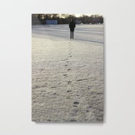 Trace in Snow Metal Print