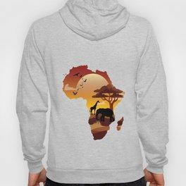 Africa Exotic Forest Veterinarian Safari Animals in Sizzling Orange Sky Wildlife Nature Gifts Hoody