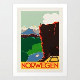 Norway travel poster by Paul Lock Eidem, 1935 Art Print