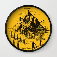 home sweet home Wall Clocks featuring Home! Sweet Home! by nicebleed
