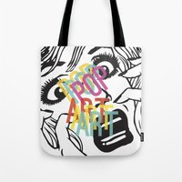 popart Tote Bags featuring PopArt V by Ingunn Ro