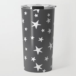 Stars - White on Gray Travel Mug