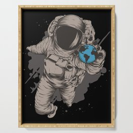 Astronaut With Earth Globe In His Hand Serving Tray