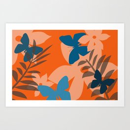 Coral leaves with blue butterflies Art Print
