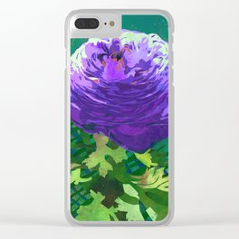 Purple Ranunculus Buttercup Floral Art Clear iPhone Case