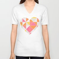 girly V-neck T-shirts featuring Girly Geometry by micklyn