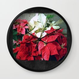 Mixed color Poinsettias 3 Blank P4F0 Wall Clock