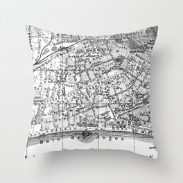 Vintage Map of Nice France (1914) BW Throw Pillow