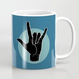 ILY - I Love You - Sign Language - Black on Green Blue 07 Kaffeebecher