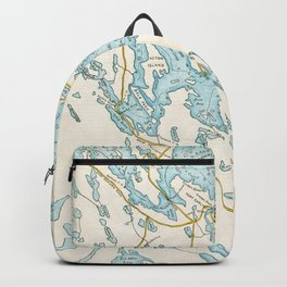 Vintage Muskoka Lakes Map Backpack