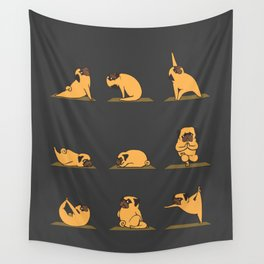 Pug Yoga // Black Wall Tapestry