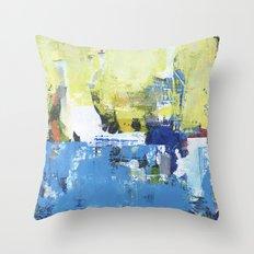 Parakeet Blue Yellow Abstract Art Throw Pillow