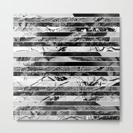 Black And White Layered Collage - Textured, mixed media Metal Print