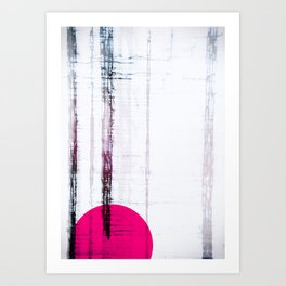 Pink Circle Straight Lines Abstract Black and White Art Print