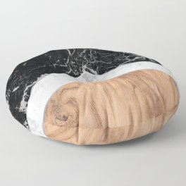 Stone Arrow Pattern - Black & White Marble & Wood #366 Floor Pillow