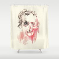 poe Shower Curtains featuring Poe by Elena López Macías