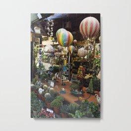 Hot Air Balloons in the Garden Shop Metal Print