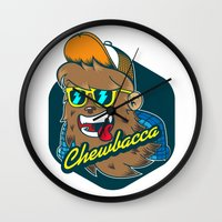 chewbacca Wall Clocks featuring Chewbacca Hipster  by Redwane