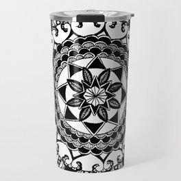 Black and White Circular Hand-Drawn Mandala Travel Mug