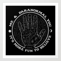 Me & Paranormal You - James Roper Design - Palmistry B&W (white lettering) Art Print