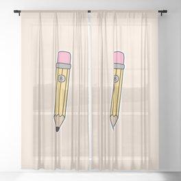 Pencil Illustration Sheer Curtain