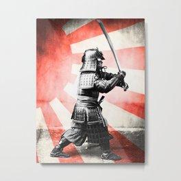 Samurai Warrior Rising Sun Metal Print
