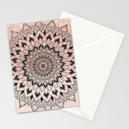 Boho black watercolor floral mandala rose gold glitter ombre pastel blush pink Stationery Cards