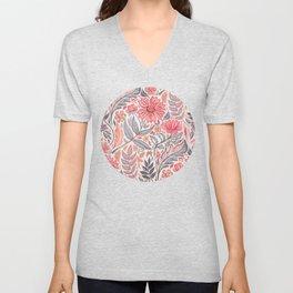 Melon Pink and Grey Art Nouveau Floral Unisex V-Neck
