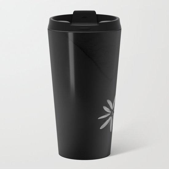 One Tiny White Flower on Black Background Metal Travel Mug