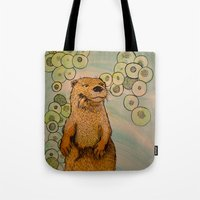 otter Tote Bags featuring Otter by AlexandraDesCotes