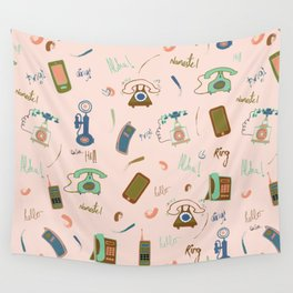 Retro Phones in pink Wall Tapestry