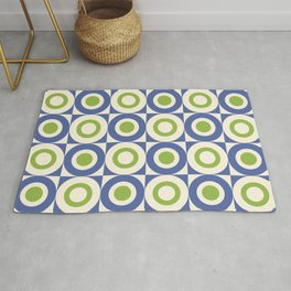 Mid Century Square and Circle Pattern 541 Blue and Green Rug