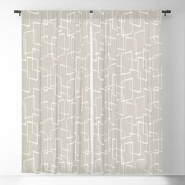 Beige / Light Warm Gray Retro Geometric Pattern Blackout Curtain