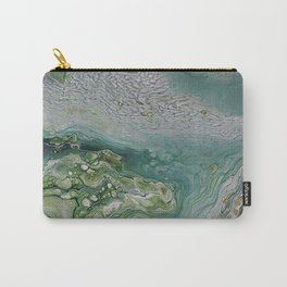 Slow Down II - Olive Sage Green Pattern Abstract Art Fluid Marble Design Carry-All Pouch