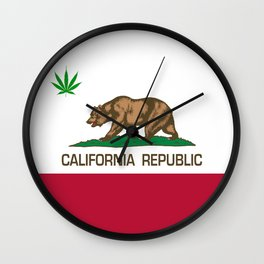 California Republic state flag with green Cannabis leaf Wall Clock