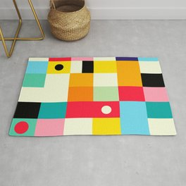 Geometric Bauhaus Pattern | Retro Arcade Video Game | Abstract Shapes Rug