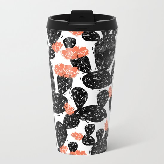 Cactus linocut black and white minimal art hipster decor botanical trendy desert Metal Travel Mug