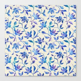 Ink Painted Floral Pattern Canvas Print
