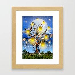 Cherry tree blossom garden with yellow lanterns and moonlight Framed Art Print