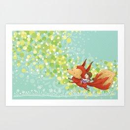 The Girl on The Fox Art Print